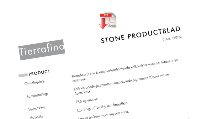 Product sheet Stone Tadelakt